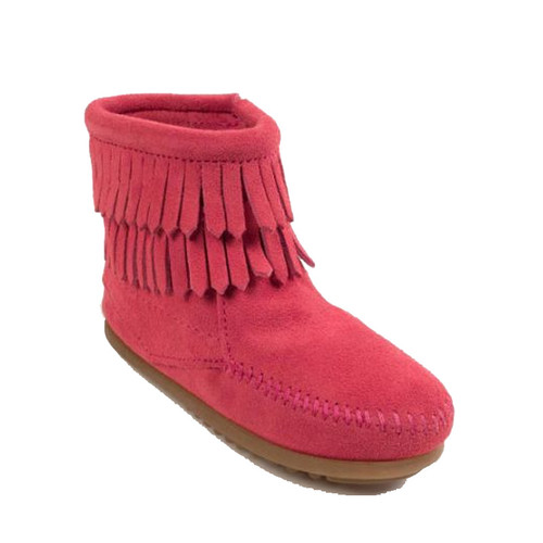 Minnetonka 2295 Kids' DOUBLE FRINGE SIDE-ZIP Hot Pink Boots