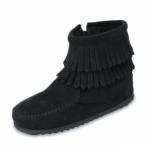 Minnetonka Kid's Double Fringe Side Zip Boot Black