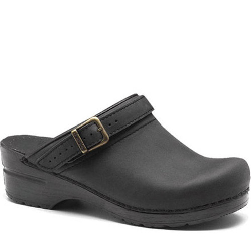 Dansko INGRID Black Oiled Backless Clogs