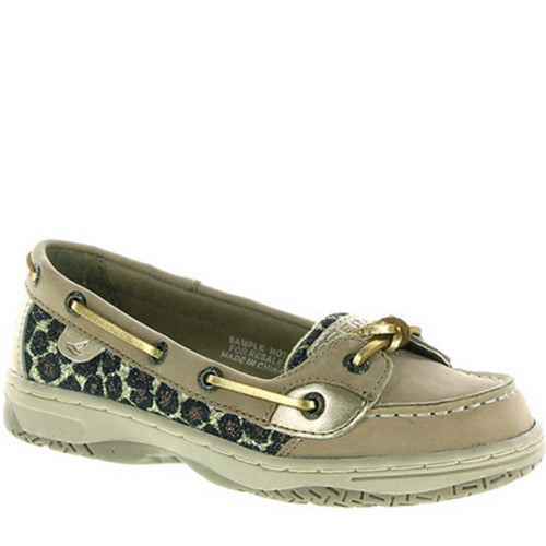 Sperry KIDS' ANGELFISH Gold Metallic Leopard Boat Shoes