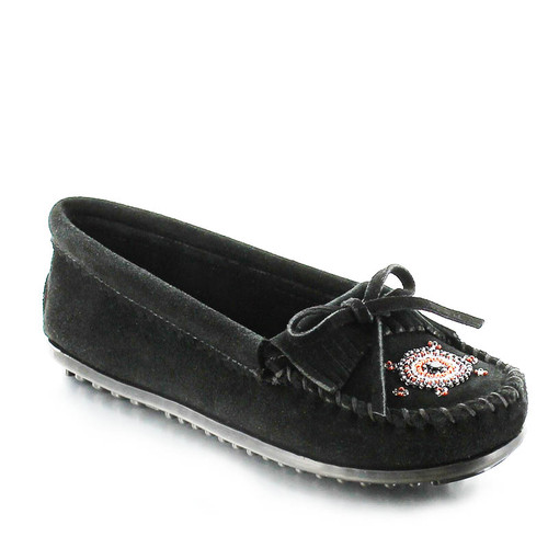 Minnetonka 400J Me To We Moccasins Black Suede