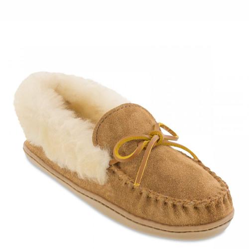 Minnetonka 3371 ALPINE SHEEPSKIN Tan Moc Slippers