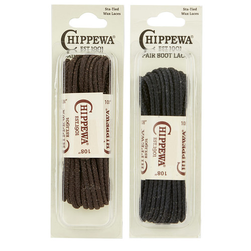 """Chippewa AUTHENTIC Sta-Tied Waxed Boot Laces 108"""" One Pair - Brown or Black"""
