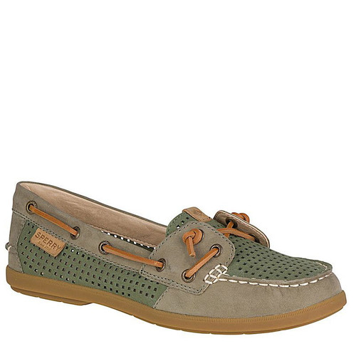 Sperry STS99175 COIL IVY Perforated Olive Boat Shoes