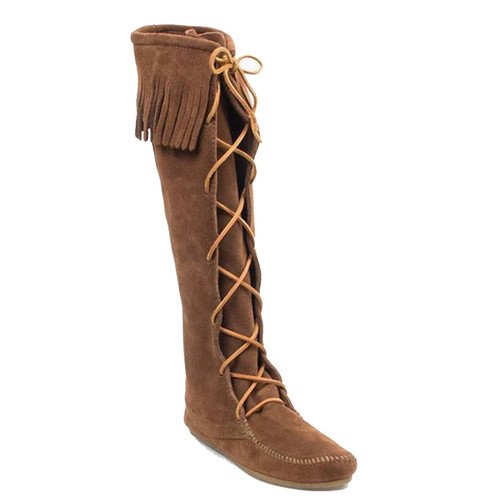 Minnetonka 1428 FRONT LACE KNEE-HIGH Dusty Brown Boots