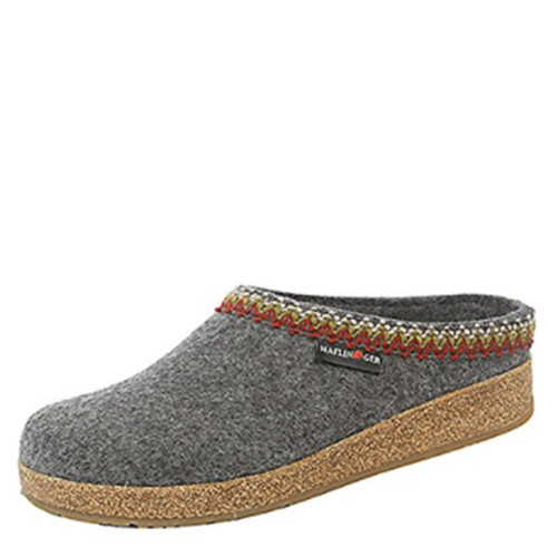 Haflinger 711053 ZIG-ZAG Women's Grey Felt Wool Clogs