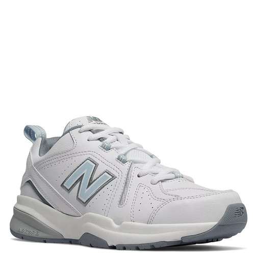New Balance 608v5 Women's Classic White Leather Trainers with Light Blue