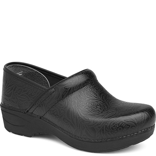 Dansko XP 2.0 BLACK FLORAL TOOLED LEATHER Clogs