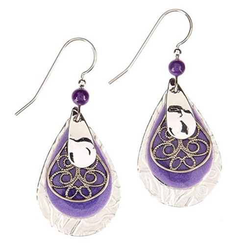 Silver Forest Purple Filigree Teardrop Earrings