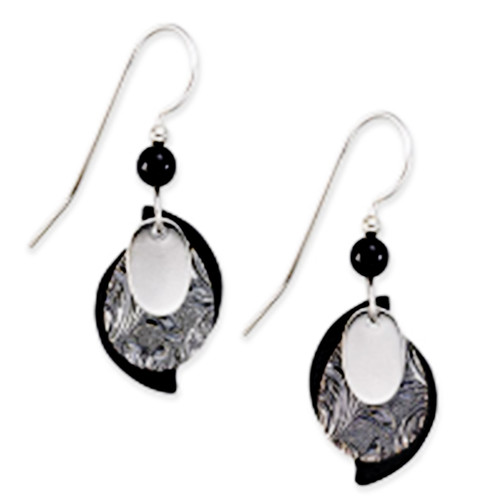 Silver Forest Black and Silver Teardrop Earrings