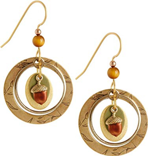 Silver Forest Gold Tone Open Hoop Acorn Earrings
