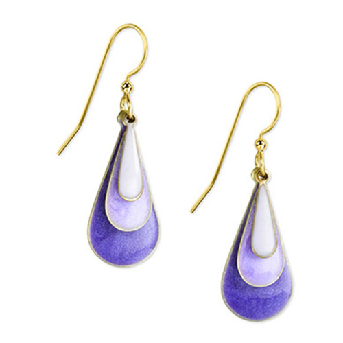 Silver Forest Purple Tri-Color Teardrop Earrings