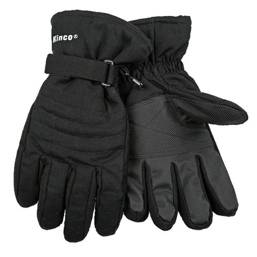 Kinco 1171 Hydroflector Lined Waterproof Black Duck Ski Gloves w/ Pull Strap