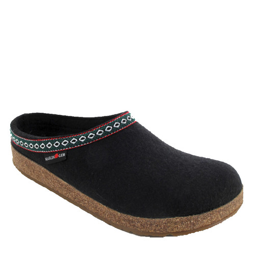 Haflinger 711001 GRIZZLY Unisex Franzl Black Wool Clogs with Alpine Trim
