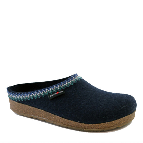 Haflinger ZIG-ZAG Women's Captain's Blue Wool Clogs
