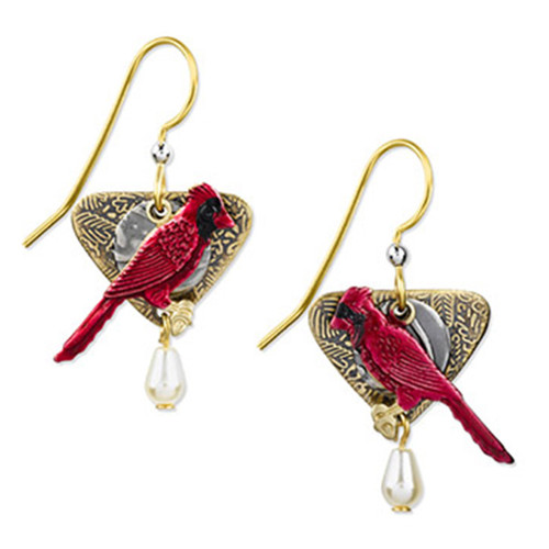 Silver Forest Silver Deep Rose Cardinal Earrings