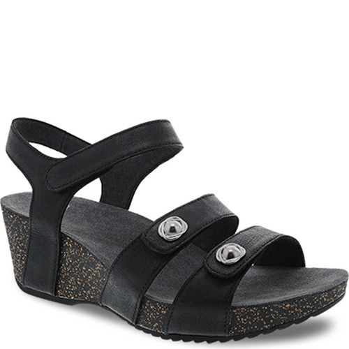 Dansko SAVANNAH Black Waxy Burnished Sandals