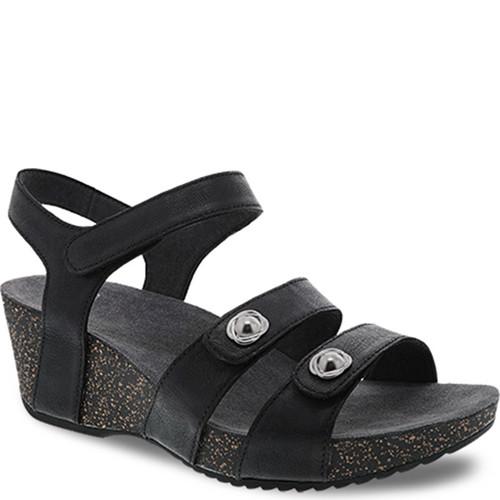 Dansko SAVANNAH Black Waxy Burnished Sandals