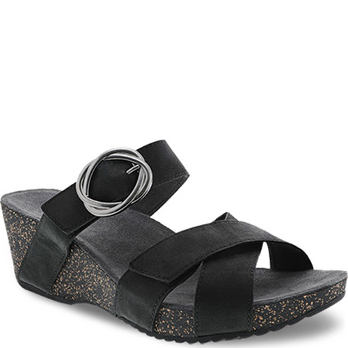 Dansko SUSIE Black Leather Slide Sandals