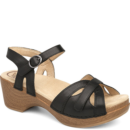 Dansko SEASON Black Full Grain Leather Sandal