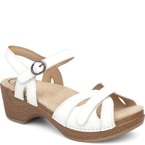 Dansko SEASON White Full Grain Leather Sandals