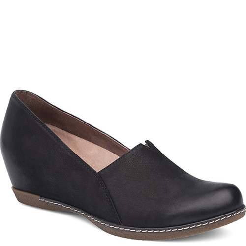 Dansko LILIANA Black Burnished Nubuck Wedges