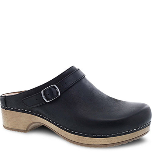 Dansko BERRY Black Burnished Nubuck Clogs