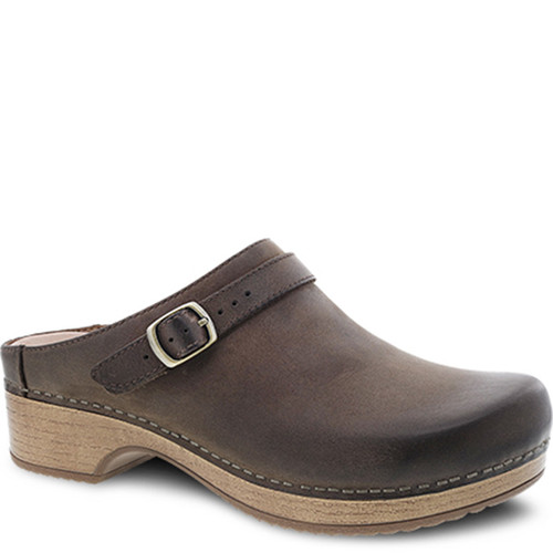 Dansko BERRY Mushroom Brown Burnished Nubuck Clogs