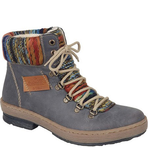 Rieker Z6743-45 Grey Combination Ankle Boots