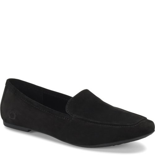 Born F69409 PETIL Black Suede Slip-On Loafers