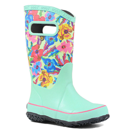 BOGS 72531-463 KIDS' RAINBOOT PANSIES Turquoise Multi