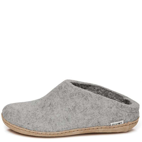 Glerups B-01 Men's SLIP-ON LEATHER SOLE Slippers Gray