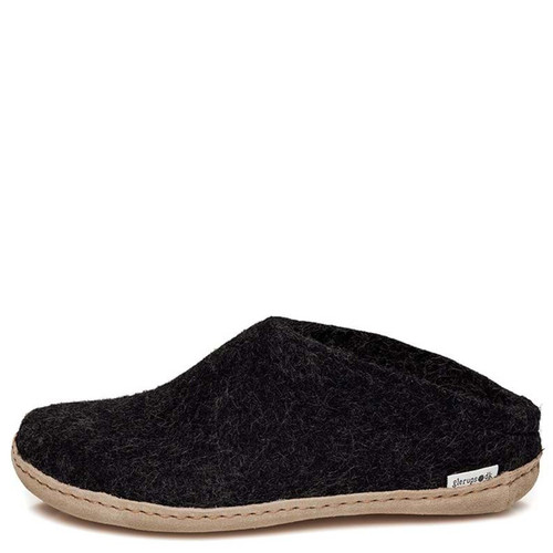 Glerups B-02 Women's SLIP-ON LEATHER SOLE Slippers Charcoal