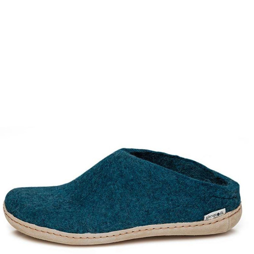 Glerups B-06 SLIP-ON LEATHER SOLE Slippers Petrol Turquoise Blue