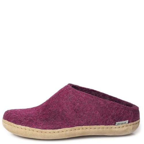 Glerups B-07 Women's SLIP-ON LEATHER SOLE Slippers Cranberry