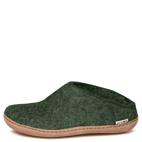 Glerups B-09 Women's SLIP-ON LEATHER SOLE Slippers Forest