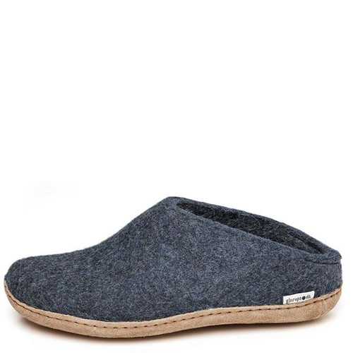 Glerups B-10 Men's SLIP-ON LEATHER SOLE Slippers Denim