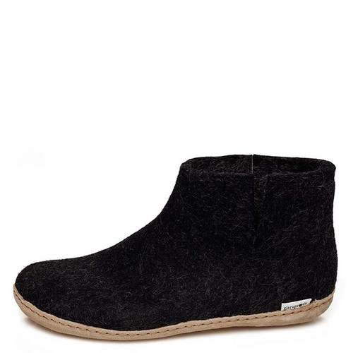 Glerups G-02 Women's LEATHER SOLE BOOT Slippers Charcoal