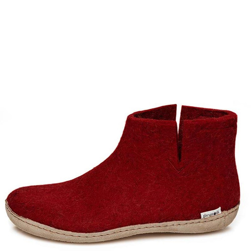 Glerups G-08 Women's LEATHER SOLE BOOT BOOT Slippers Red