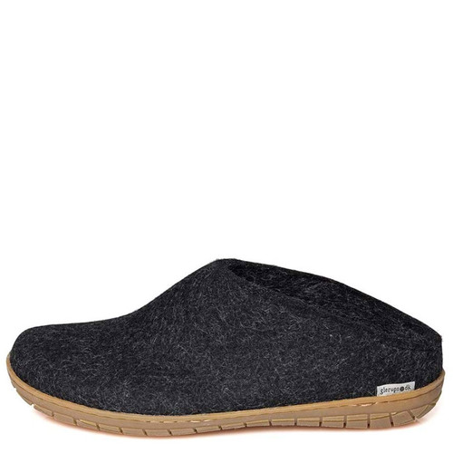 Glerups BR-02  SLIP-ON RUBBER SOLED Slippers Charcoal