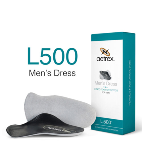 Aetrex L500M Men's DRESS Orthotics - 3/4 Insole for Dress Shoes Box