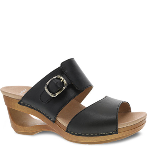 Dansko TAWNY Black Waxy Slip-On Wedge Sandals