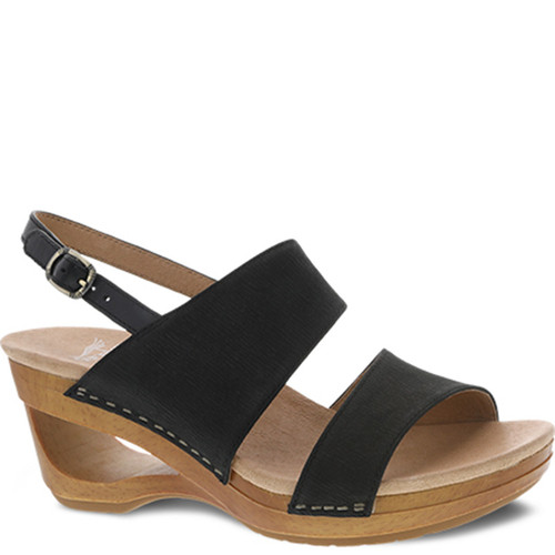 Dansko TAMIA Black Textured Nubuck Slingback Sandals