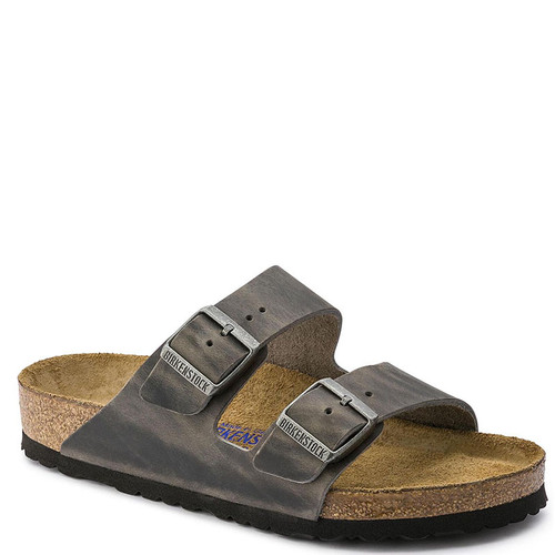 Birkenstock Men's ARIZONA SOFT FOOTBED Iron Oiled Leather Sandals