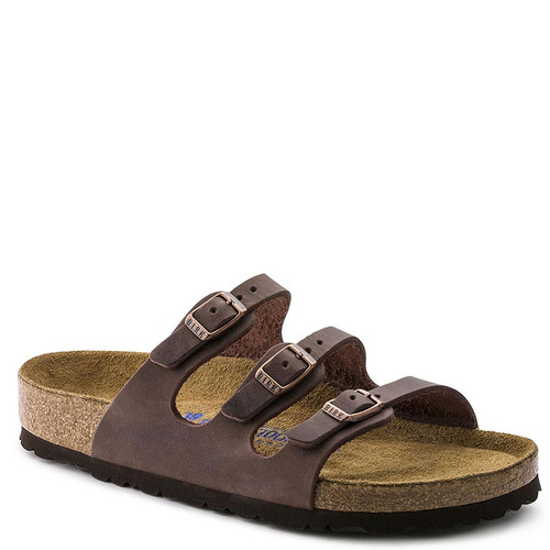 Birkenstock Women's FLORIDA HABANA OILED SOFT FOOTBED Leather Sandals