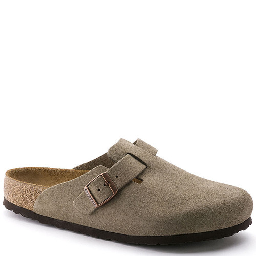Birkenstock 56701 Men's BOSTON SOFT FOOTBED Clogs Taupe Suede