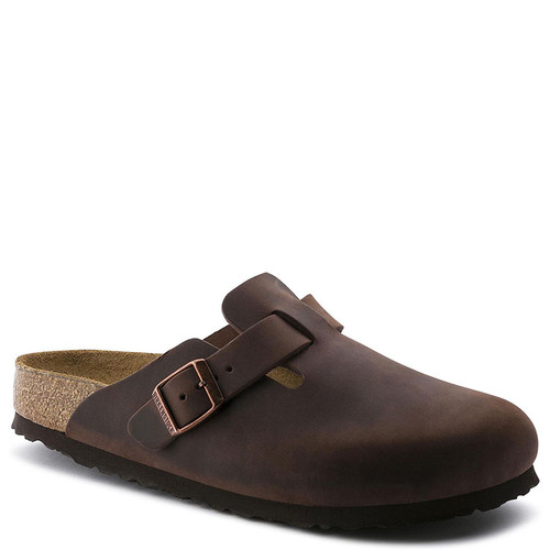 Birkenstock 159711 Women's BOSTON SOFT FOOTBED Clogs Habana Oiled Leather
