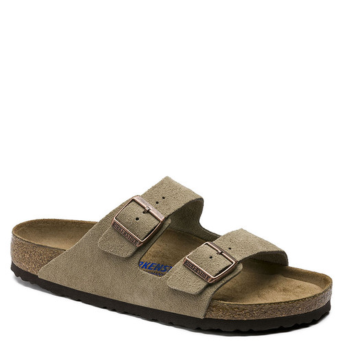 Birkenstock Men's ARIZONA SOFT FOOTBED Taupe Suede Sandals