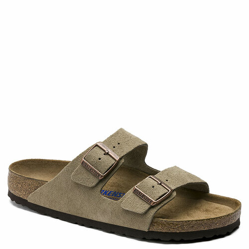 Birkenstock Men's ARIZONA SOFT FOOTBED Taupe Suede Sandals