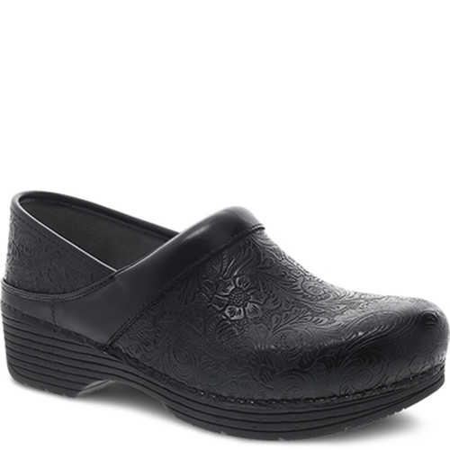 Dansko LT PRO Black Floral Tooled Clogs